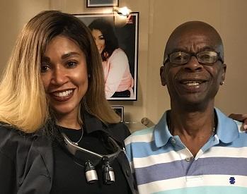 Karen Cooper, a dentist in Savannah, GA, and smiling, happy, older patient.