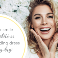 Woman smiling about her wedding planning with caption about her white teeth on the big day.